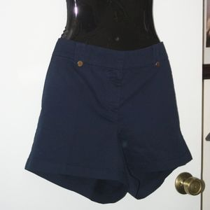 "LOFT Navy 4"" Shorts with Gold Button Detail NWT"